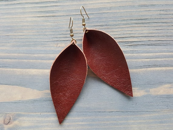 Leather Leaf Earrings, Genuine Leather Earrings, Real Leather Earrings, Burgundy Earrings, Boho Earrings, Western Earrings, Bohemian Earings