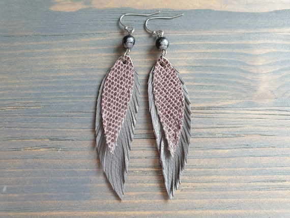 Layered Leather Feather Earrings, Long Earrings, Grey Leather Earrings, Bohemian Earrings, Boho Earrings, Gift For Her