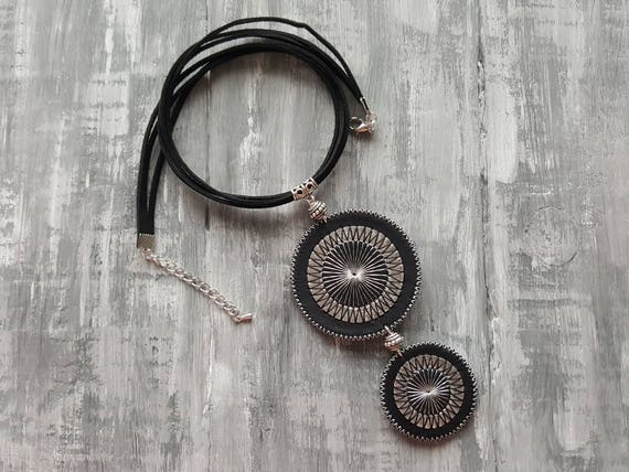 Tribal necklace. Statement necklace. Boho necklace. Boho choker. Leather necklace. Leather choker. Large pendant necklace. Bohemian necklace