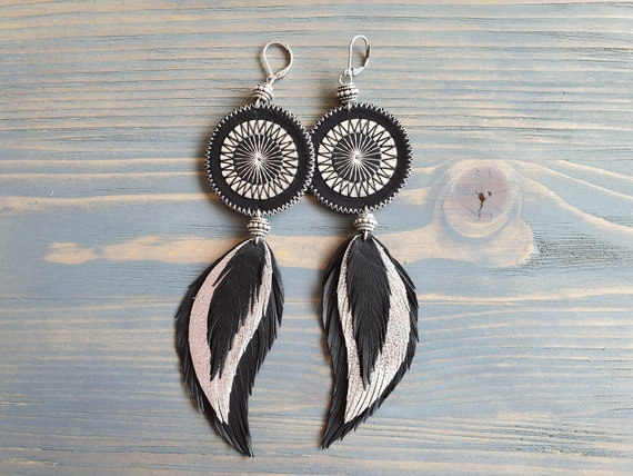 Long Feather Earrings, Statement Earrings, Large Boho Earrings, Leather Feather Earrings, Statement Jewelry, Black Silver Leather Earrings.