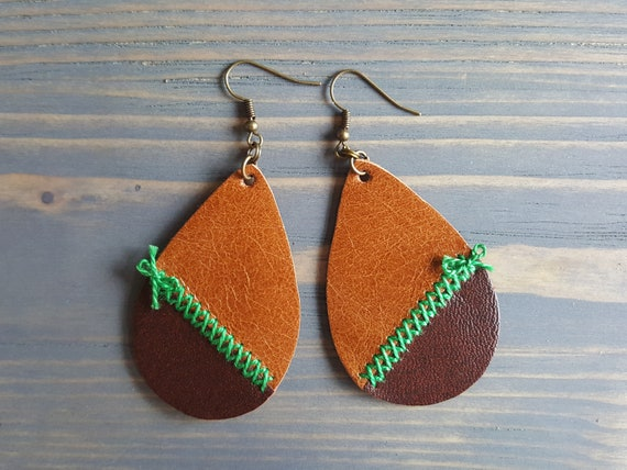 Leather Teardrop Earrings. Bohemian Earrings. Rustic Earrings. Boho Earrings. Genuine Leather Earrings. Trendy Earrings Lightweight Earrings