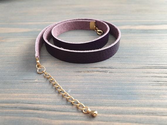 Purple Leather Bracelet, Layered Bracelet, Leather Cuff Bracelet, Triple Layer Bracelet, Genuine Leather Bracelet, Leather Accessories.