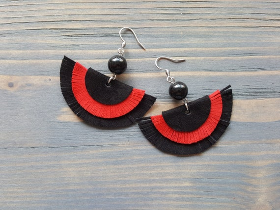 Black and Red Leather Earrings, Leather Fringe Earrings, Fringe Boho Earrings, Statement Earrings, Statement Jewelry, Bohemian Earrings
