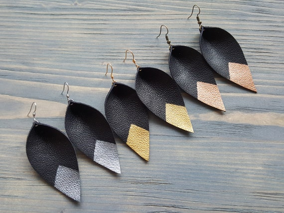 Genuine Leather Leaf Earrings. Bohemian Black Earrings. Boho Earrings.  Leaf Earrings. Leather Earrings. Dipped Leather Earrings