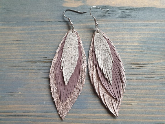 Large Leather Feather Earrings, Layered Leather Earrings, Large Lightweight Earrings, Statement Earrings, Bohemian Earrings, Long Earrings