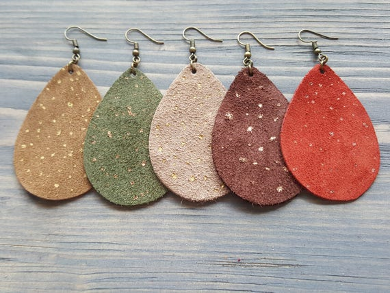 Suede earrings Teardrop earrings Large leather earrings Khaki earrings Leather teardrop earrings Boho earrings Bohemian dangle earrings