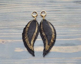 Leather Feather Earrings. Long Dangle Earrings. Bohemian Leather Earrings. Boho jewelry. Black Gold Feather Earrings. Leather Jewelry.
