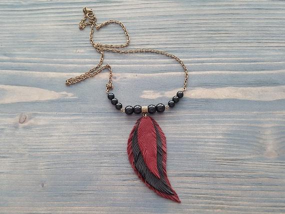 Leather Feather Necklace / Black Onyx Beaded Necklace / Bronze Chain Necklace / Bohemian Jewelry / Boho Necklace / Red Leather Feather