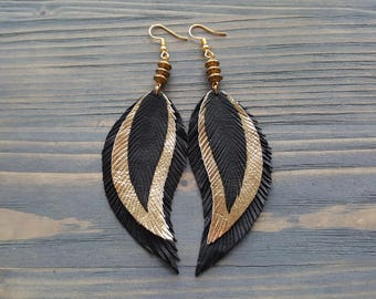 Gold Feather Earrings. Statement Earrings. Boho Earrings. Bohemian Earrings. Leather Feather Earrings. Long Black Earrings. Boho chic.