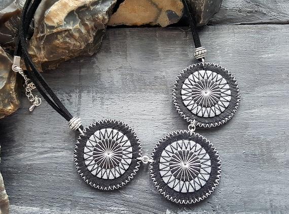 Leather necklace. Statement necklace. Black and silver necklace. Boho necklace. Bohemian necklace. Leather choker. Boho choker. Mandala.