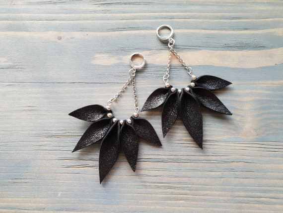 Black Earrings, Leather Earrings, Long Dangle Earrings, Boho Earrings, Bohemian Earrings, Boho Jewelry, Statement Earrings, Fashion Earrings
