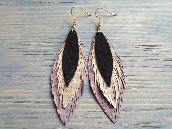 Layered Leather Earrings, Long Earrings, Leather Feather Earrings, Statement Earrings, Dangle Earrings, Bohemian Earrings, Oversize Earrings