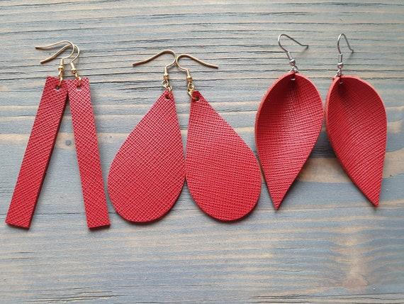 Red Leather Earrings, Leather Bar Earrings, Leather Teardrop Earrings, Leather Leaf Earrings, Red Earrings, Minimalist Earrings