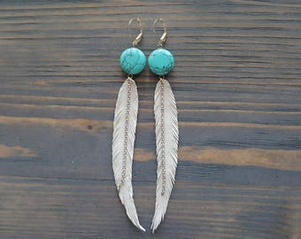 Long White Leather Feather Earrings. Turquoise Silver Earrings. Bohemian Dangle Earrings. Leather Boho Earrings. Boho Style Jewelry.