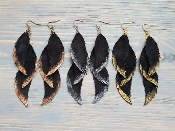 Feather Earrings, Leather Feather Earrings, Black Earrings, Boho Earrings, Long Feather Earrings, Boho Jewelry, Bohemian Dangle Earrings