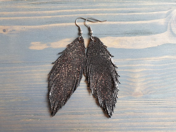 Black Leather Earrings, Feather Earrings, Leather feather Earrings, Shiny Earrings, Statement Earrings, Hypoallergenic Lightweight Earrings