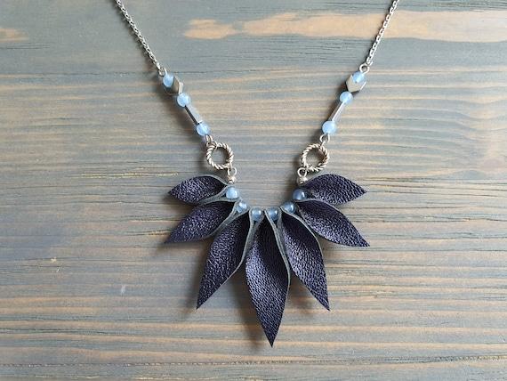 Handmade Boho Necklace, Blue Necklace, Bohemian Necklace, Boho Jewelry, Statement Necklace, Leather and Gemstones Necklace, Bohemian Jewelry