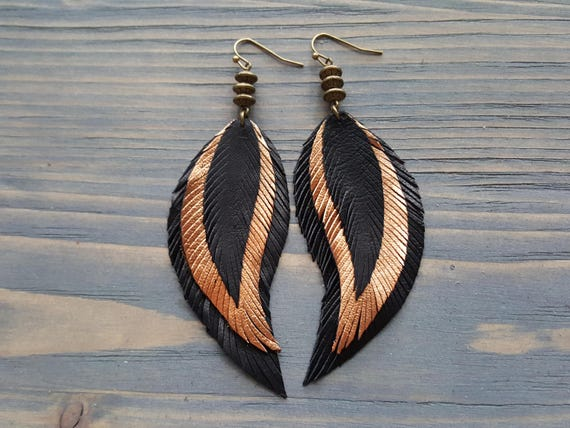 Big Statement Earrings. Large Earrings. Long Bohemian Earrings. Leather Earrings. Boho Earrings. Leather Feather Earrings. Statement Jewelry