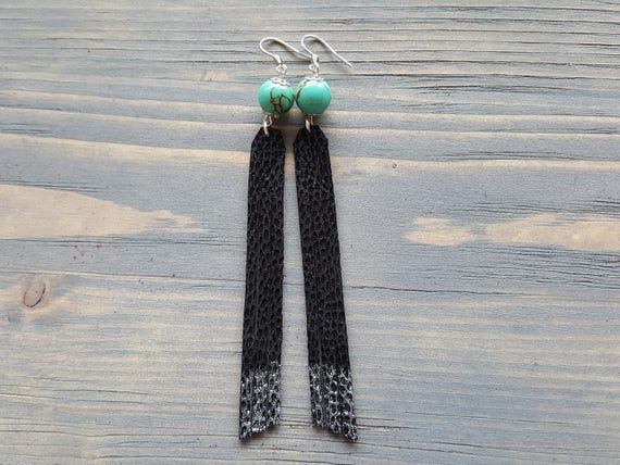 Leather Fringe Earrings. Long Black Earrings. Tassel Earrings. Leather Earrings. Bohemian Earrings. Turquoise Earrings. Boho Earrings