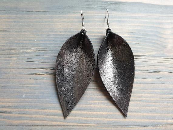 Leather Leaf Earrings, Large Leaf Earrings, Black Leather Earrings, Bohemian Earrings, Statement Earrings, Lightweight Earrings