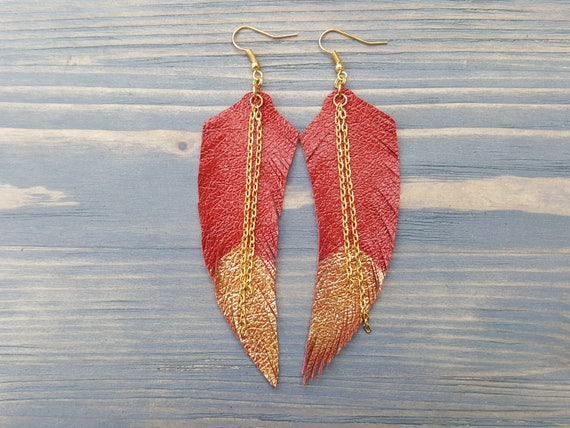 Red leather feather earrings. Bohemian earrings. Long dangle earrings. Boho earrings. Handmade genuine leather earrings Red feather earrings