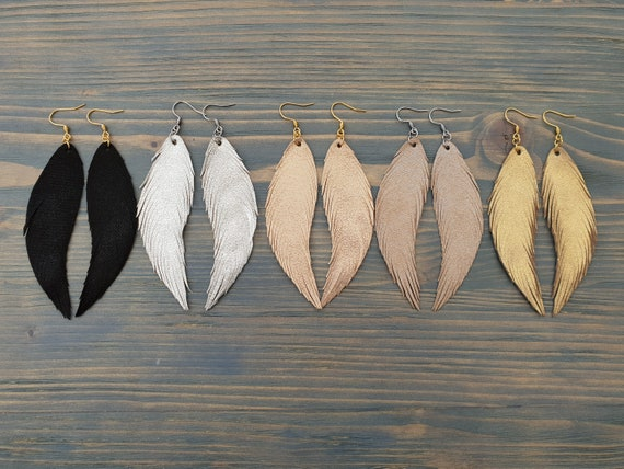Leather earrings handmade Leather feather earrings Long earrings Dangle earrings Shiny earrings Boho earrings Bohemian earrings Boho jewelry