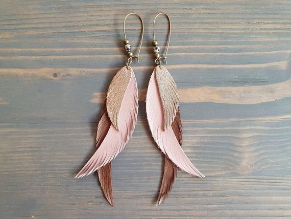 Long Feather Earrings, Statement Earrings, Boho Earrings, Bohemian Earrings, Leather Earrings, Handmade Earrings, Long Dangle Earrings