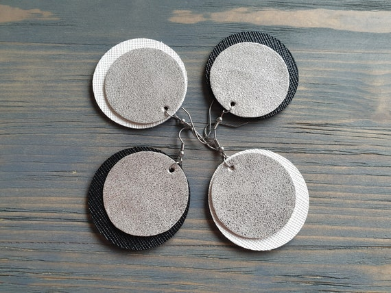 Leather Disk Earrings, Genuine Leather Earrings, Large Circle Earrings, Boho Earrings, Statement Boho Jewelry, Surgical Steel  Hook Earrings