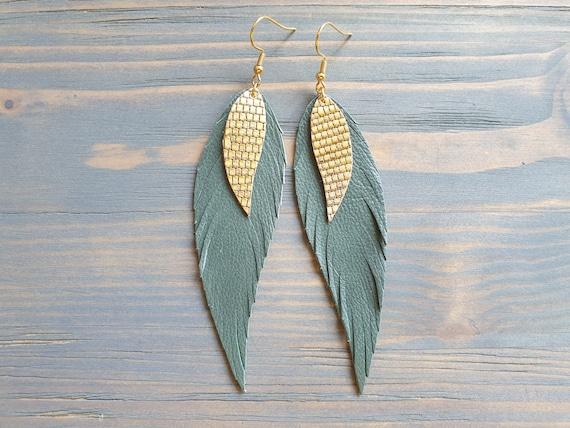 Sage Green Leather Earrings, Long Earrings, Leather feather Earrings, Green and Gold Earrings, Bohemian Earrings, Fashion Jewelry