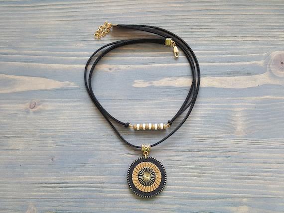 Bohemian Leather Necklace, Gemstone Necklace, Boho Necklace with Pendant, Statement Necklace, Boho Jewelry, Statement Jewelry, Boho Chic