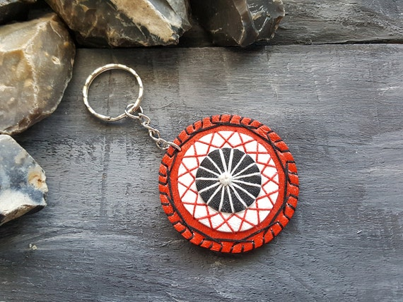 Handmade leather keychain. Mandala keychain. Bag Charm. Red leather keychain. Leather accessories. Boho keychain. Bohemian keychain.