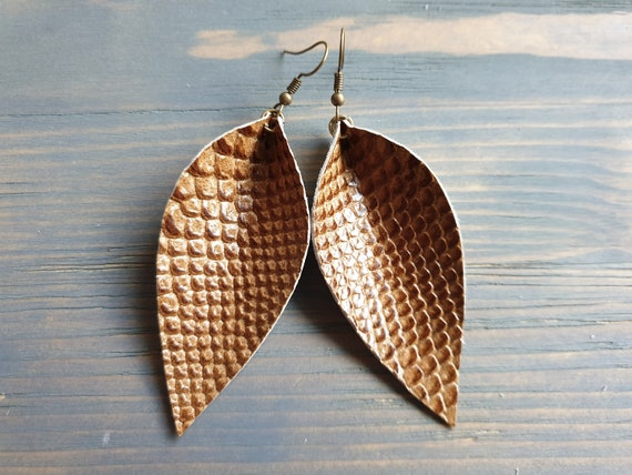 Brown Leather Earrings, Western Earrings, Leather Leaf Earrings, Leather Earrings, Boho Earrings, Bohemian Earrings, Western Jewelry