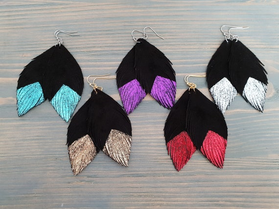 Handmade Genuine Leather Feather Earrings Boho Jewelry Glittered Black Feathers Leather Earrings