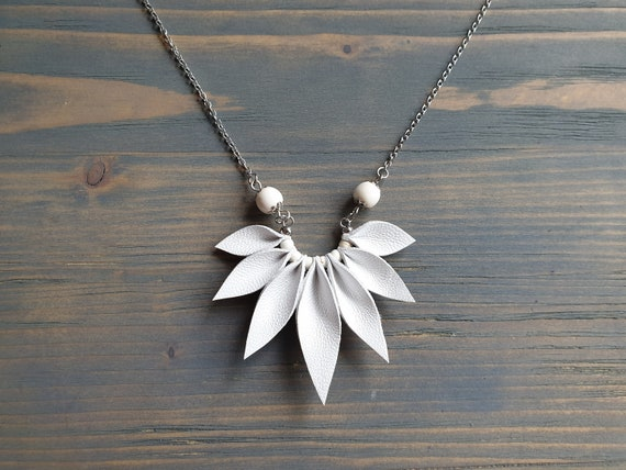 White Leather Necklace, Silver Chain Necklace, Boho Necklace, Leather Anniversary Gift, 3rd Anniversary Gift For Wife, Boho Wedding Necklace
