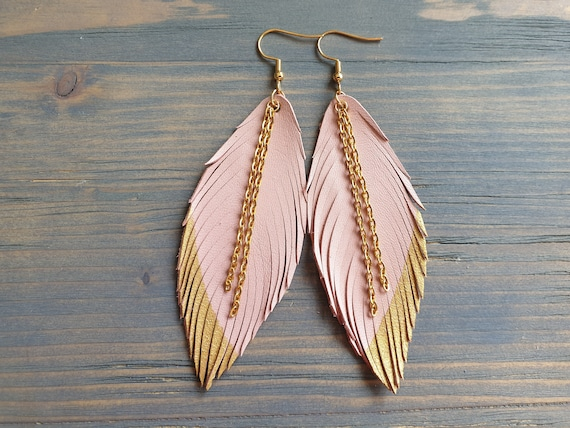Leather Feather Earrings, Pink and Gold Earrings, Leather Earrings, leather fringe Earrings, Boho earrings, Dangle Earrings, Gift for Her