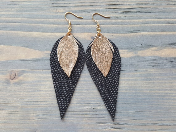 Black and Gold Leather Earrings. Statement Earrings. Large Boho Earrings. Long Dangle Earrings. Bohemian Earrings. Large Drop Earrings.