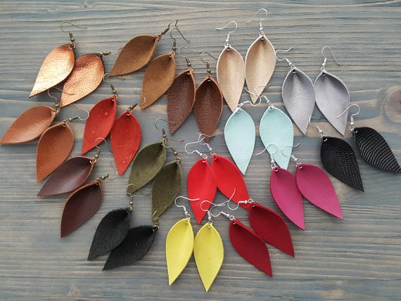 Leather leaf earrings. Small leather earrings. Drop earrings. Bright earrings. Boho earrings. Lightweight earrings. Bohemian earrings.
