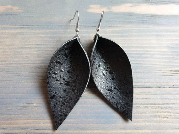 Genuine Leather Earrings, Black Leaf Earrings, Leather Leaf earrings, Leather Earrings, Western Earrings, Bohemian Earrings, Boho Jewelry