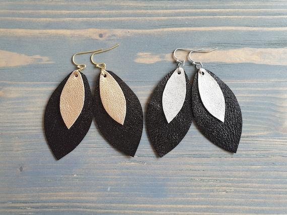 Handmade Leather Earrings, Petal Earrings, Trendy Earrings, Black Earrings, Fashion Jewelry, Gift For Her, Leather Teardrop Earrings
