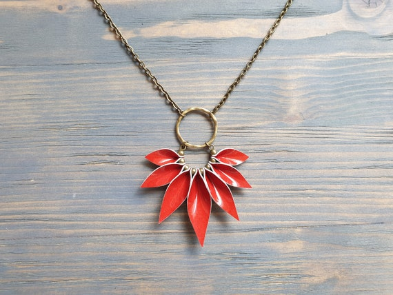 Red Leather Necklace, Bronze Chain Necklace, Boho Necklace, Leather Petal Necklace, Boho Jewelry, Statement Necklace, Statement Jewelry