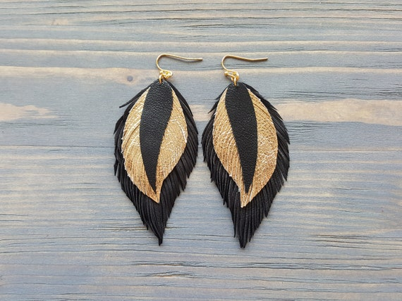 Gold and Black Layered Leather Feather Earrings, Large Boho Earrings, Leather Bohemian Earrings, Lightweight Earrings, Boho Jewelry