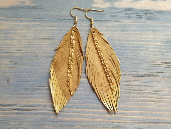 Leather Earrings, Large Boho Earrings, Leather Feather earrings, Lightweight Earrings, Dangle Earrings, Gift for Her, Boho Jewelry.