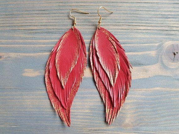 Red Leather Earrings, Statement Earrings, Leather Feather Earrings, Oversize Earrings, Layered Leather Earrings, Bohemian Earrings