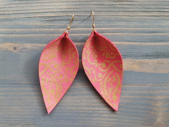 Leather Leaf Earrings, Coral Earrings, Pink Earrings, Leather Earrings, Boho Earrings, Hand painted Earrings, Bohemian Earrings, Boho Chic