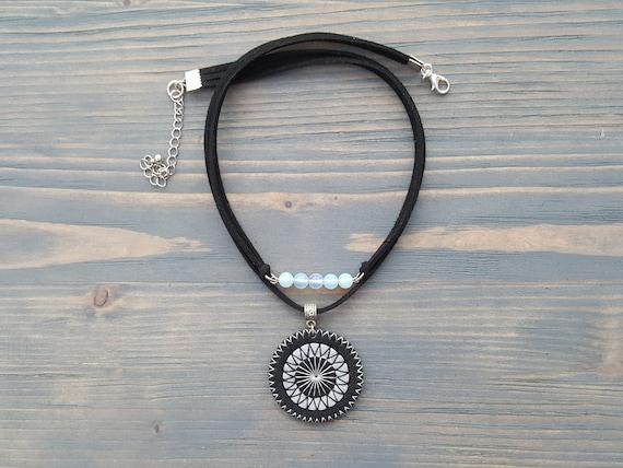 Black Suede Choker with Pendant, Boho Choker, Bohemian Choker, Layered Moonstone Necklace, Bohemian Jewelry, Leather Choker Necklace.