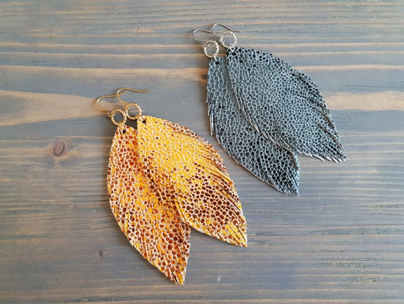 Metallic leather earrings Leather feather earrings Sparkly leather earrings Shiny earrings Large leather feather earrings Bohemian earrings