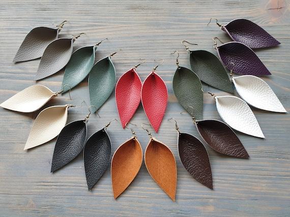 Large Leather Leaf Earrings. Leather Earrings. Boho Earrings. Rustic Leather Earrings. Bohemian Earrings. Western Earrings. Cowgirl Earrings