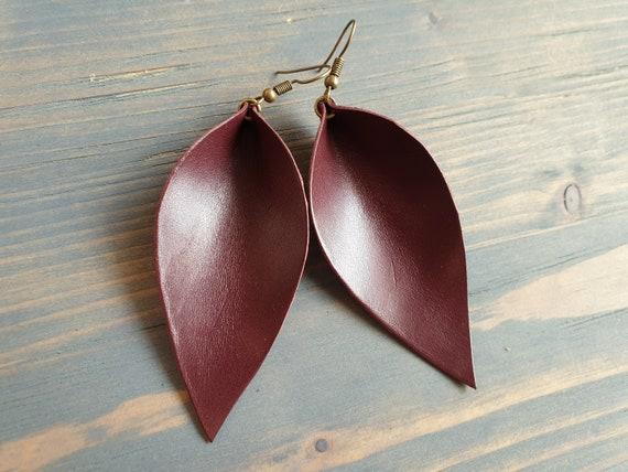 Burgundy Leather Earrings, Leaf Earrings, Large Leather Leaf Earrings, Leather Earrings