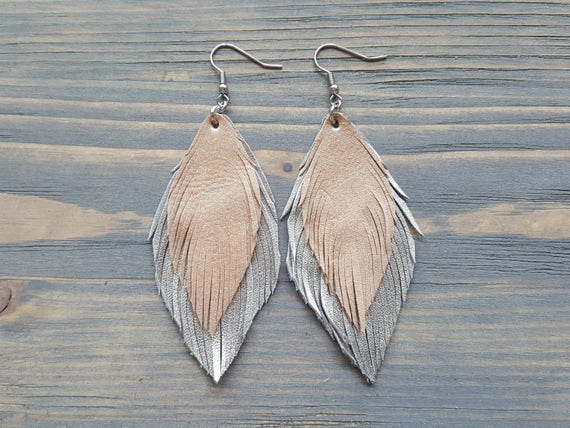 Long boho earrings. Leather feather earrings. Silver feather earrings. Champagne earrings. Bohemian dangle earrings. Lightweight earrings.