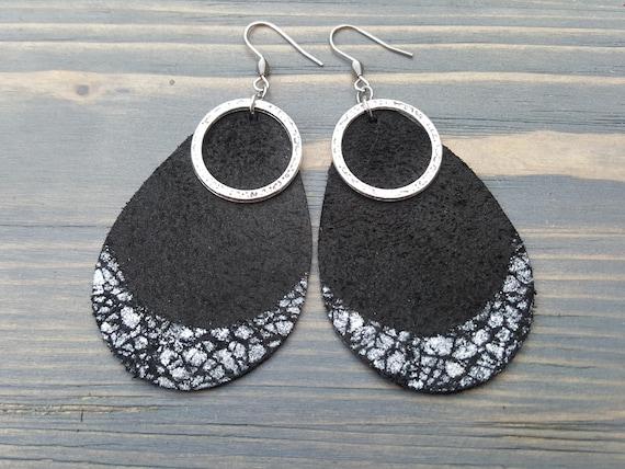 Black teardrop earrings. Leather teardrop earrings. Leather earrings. Large earrings. Bohemian earrings. Boho earrings. Lightweight earrings